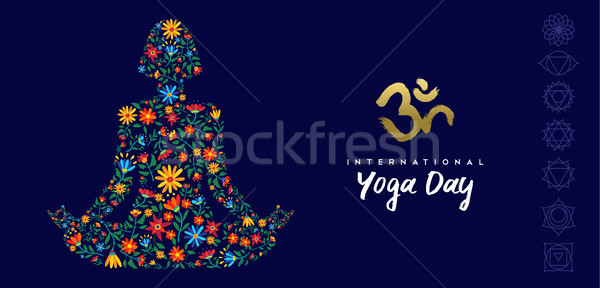 Yoga day web banner of woman in lotus pose Stock photo © cienpies