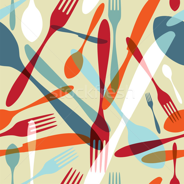 Cutlery transparent silhouette pattern background  Stock photo © cienpies