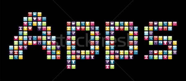 Foto stock: Telefone · móvel · aplicativos · palavra · aplicações