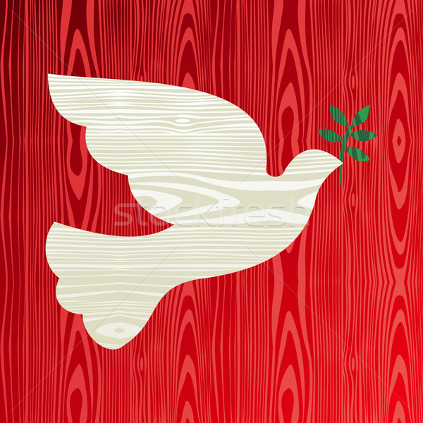 Christmas wooden dove of peace Stock photo © cienpies