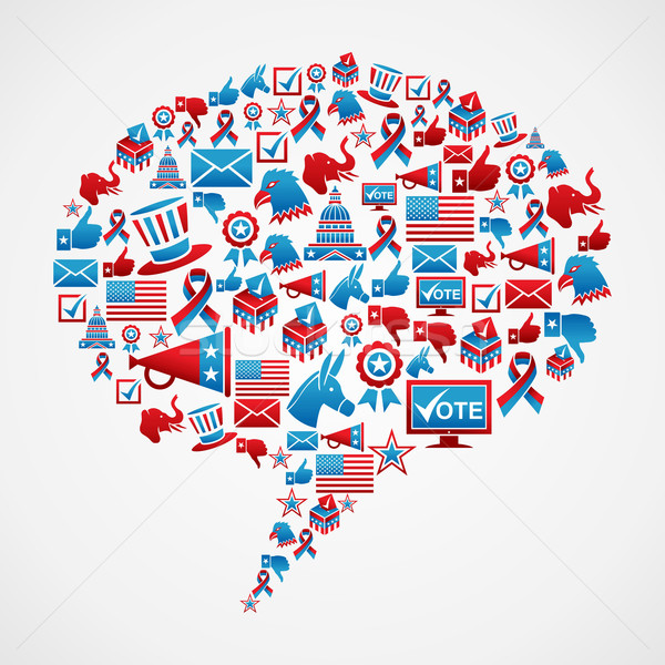 Stok fotoğraf: Sosyal · medya · seçim · simgeler · ABD · kabarcık