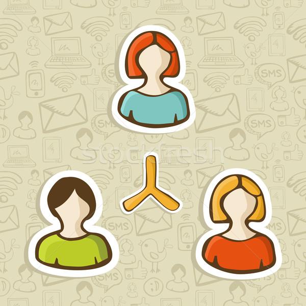 Sosyal medya insanlar bağlantı ağ web pazarlama Stok fotoğraf © cienpies