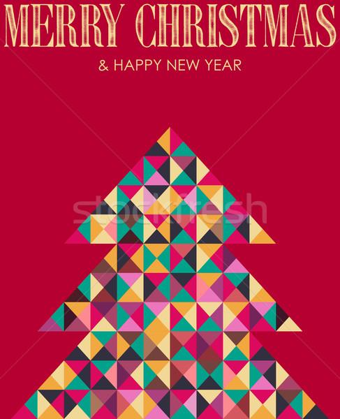 Retro Mosaik Weihnachten Kiefer Jahrgang mehrfarbig Stock foto © cienpies