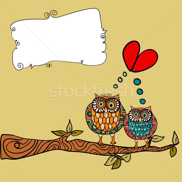 Owl love greeting card Stock photo © cienpies