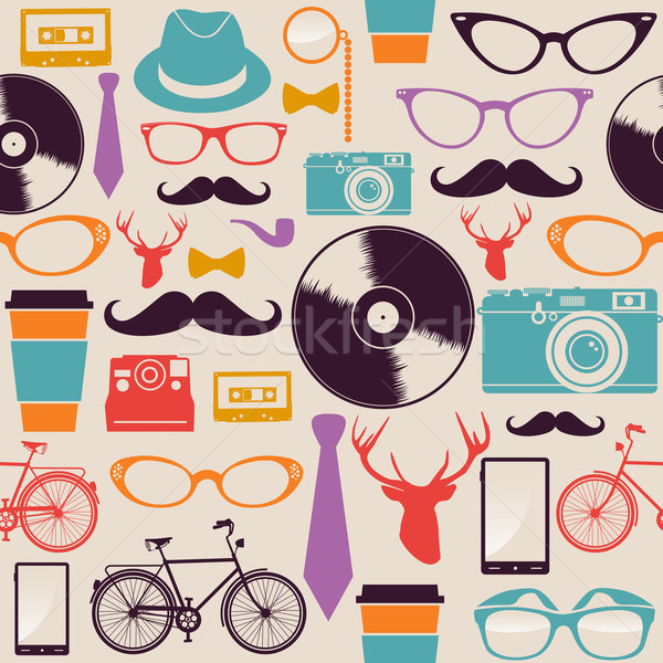 Colorful vintage hipsters icons. Stock photo © cienpies