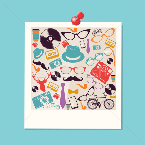 Colorful retro hipsters icons photo. Stock photo © cienpies