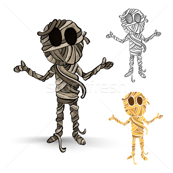 Halloween monsters isolated spooky mummies set. Stock photo © cienpies