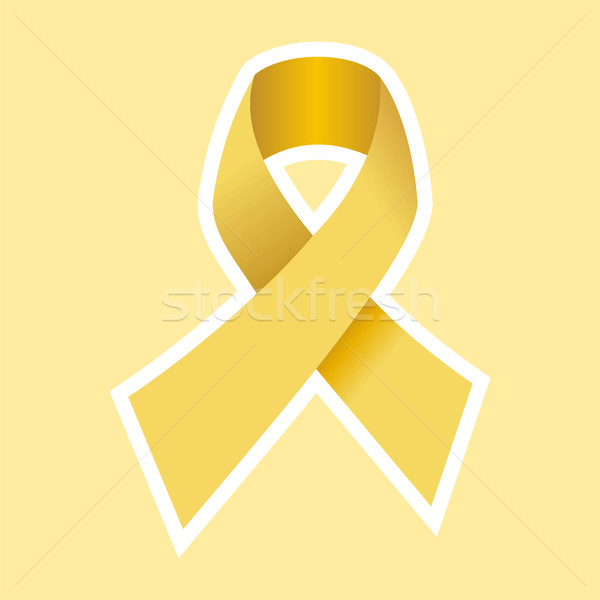 Stock photo: Cancer Ribbon in Gold. Yellow Background