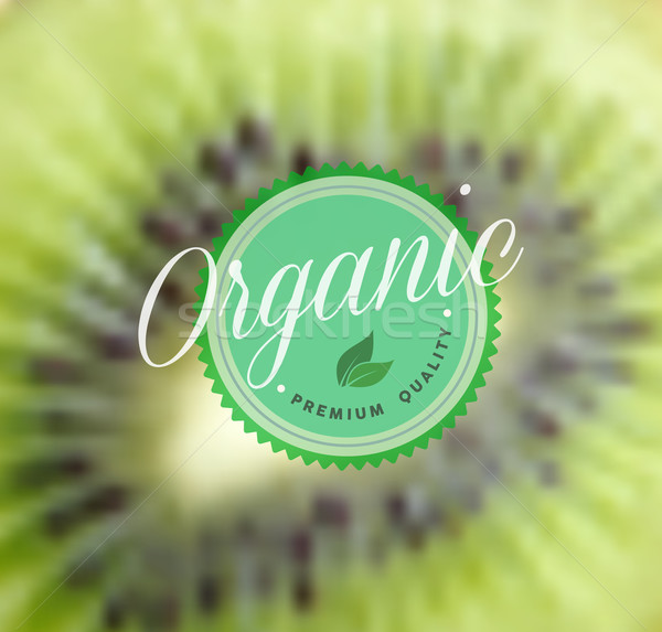 Organik gıda Retro etiket kivi bulanık sağlık Stok fotoğraf © cienpies