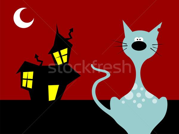 Zdjęcia stock: Halloween · noc · kot · scary · wektora · drzewo