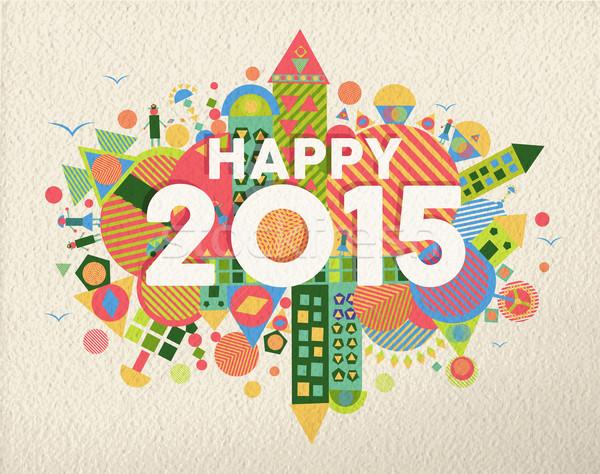 Happy 2015 quote illustration Stock photo © cienpies