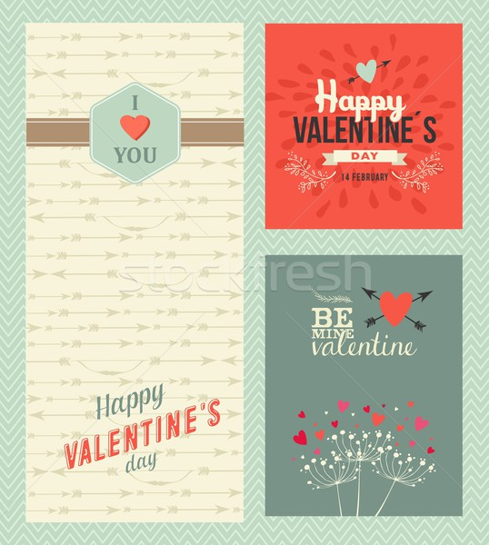 Happy Valentines day greeting cards Stock photo © cienpies