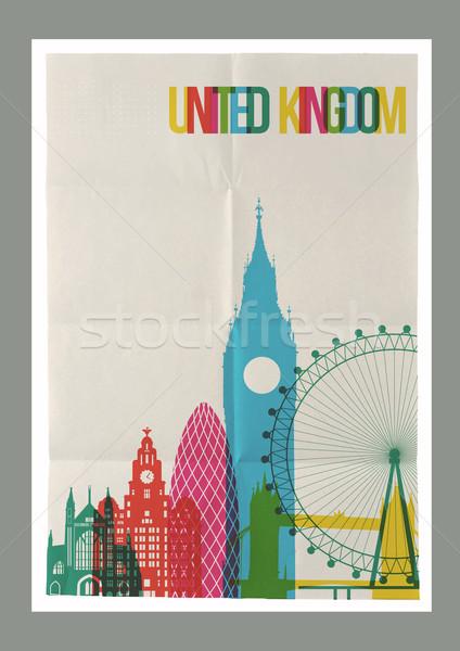 Viaggio Regno Unito skyline vintage poster noto Foto d'archivio © cienpies