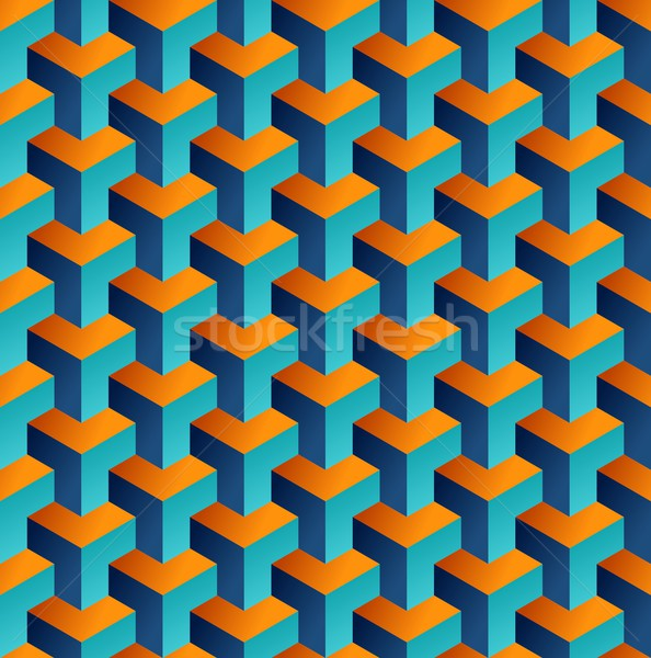 Isometric 3d shapes seamless pattern background Stock photo © cienpies