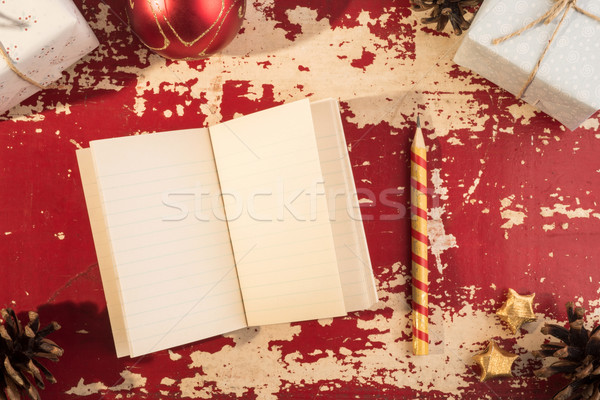 Holiday concept christmas notebook template retro Stock photo © cienpies