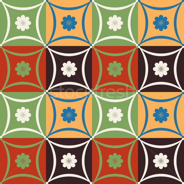 Foto d'archivio: Mosaico · piastrelle · modello · di · fiore · geometrica · forme · floreale