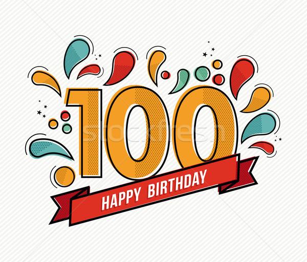 Color happy birthday number 100 flat line design Stock photo © cienpies