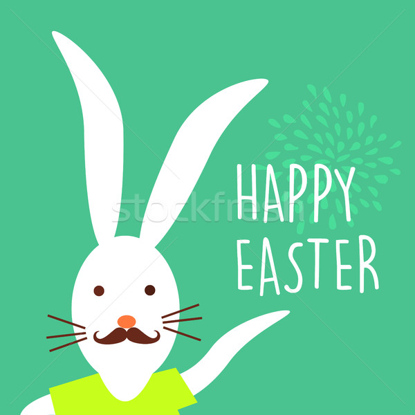 Happy Easter holiday hipster bunny card design Stock photo © cienpies