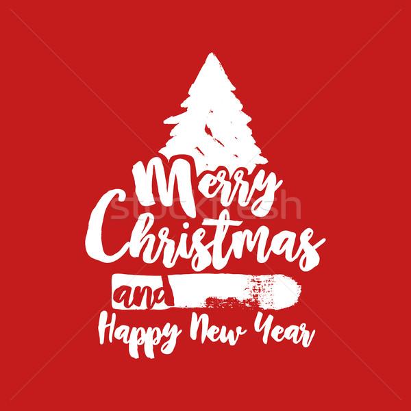 Natal texto citar caligrafia árvore ilustração Foto stock © cienpies