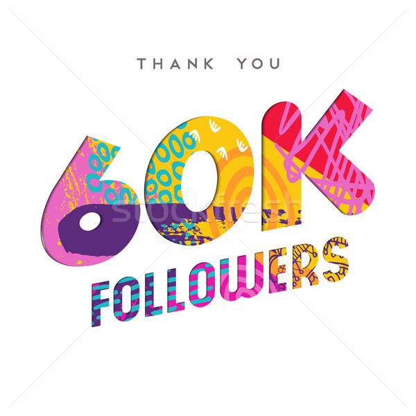 60k internet follower number thank you template Stock photo © cienpies