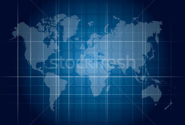 Modern blue digital world map technology concept  Stock photo © cienpies
