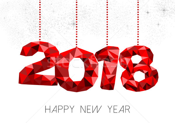 Happy New Year 2018 red low poly greeting card Stock photo © cienpies