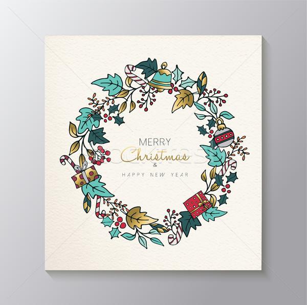 Photo stock: Noël · nouvelle · année · or · nature · couronne · carte
