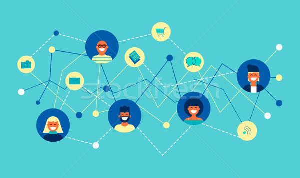 Internet red social grupo diseno conexión ilustración Foto stock © cienpies