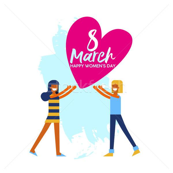 Happy Womens Day friendship love greeting card Stock photo © cienpies
