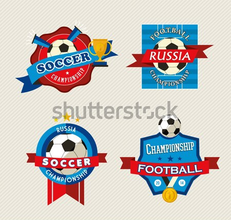 Russia soccer 2018 world match label set template Stock photo © cienpies