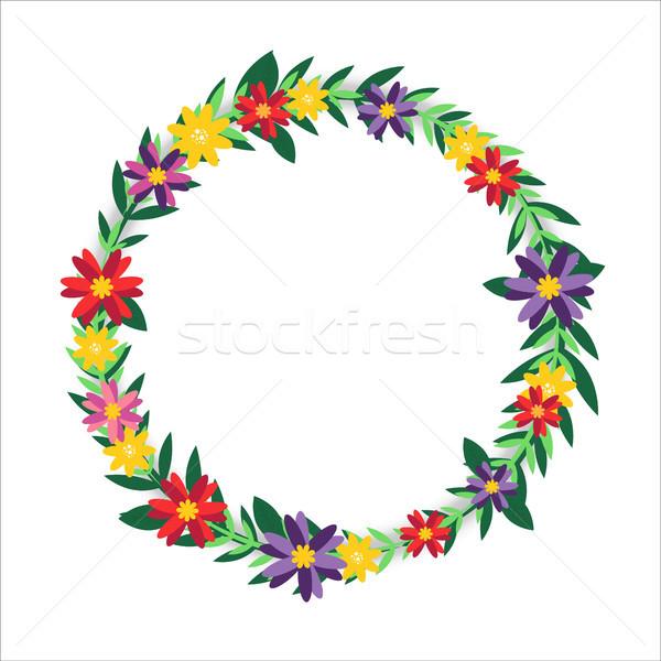 Százszorszép virág koszorú keret izolált illusztráció Stock fotó © cienpies