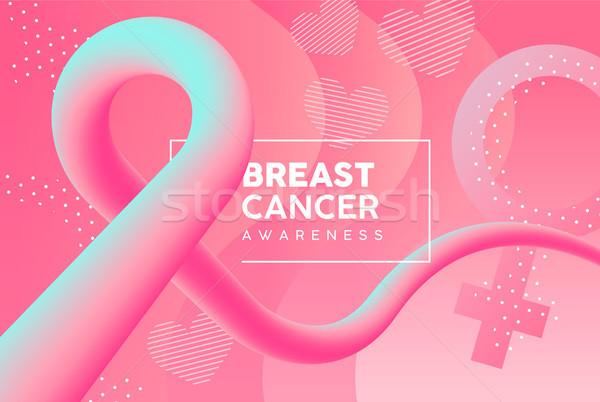 乳癌 認知度 ピンク 抽象的な リボン カード ストックフォト © cienpies