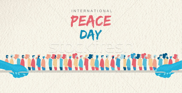 World Peace Day card of diverse people group Stock photo © cienpies