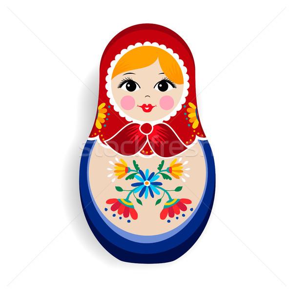 традиционный русский кукла изолированный орнамент белый Сток-фото © cienpies