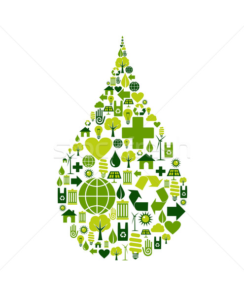 Drop symbol with environmental icons Stock photo © cienpies