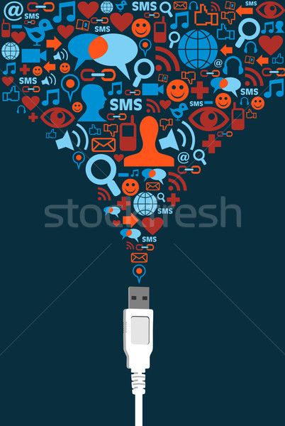 Social media usb communicatie splash Stockfoto © cienpies