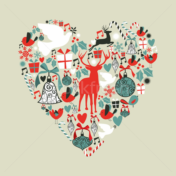 Foto stock: Natal · ícones · amor · coração · forma · de · coração