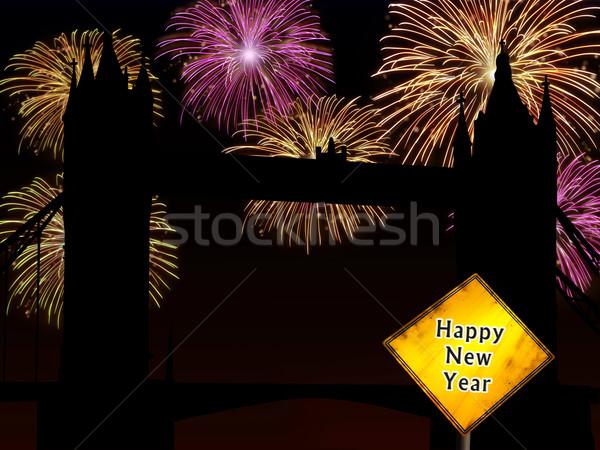 England Happy New Year fireworks Stock photo © cienpies