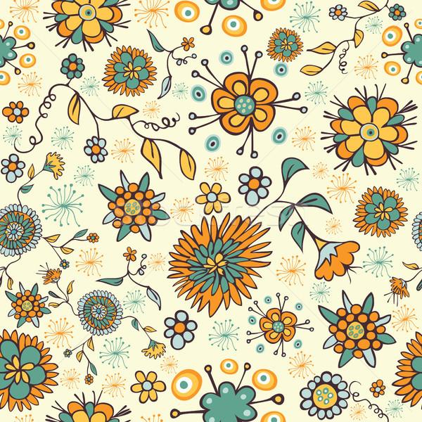Stock fotó: Absztrakt · szép · virág · végtelen · minta · szín · természet