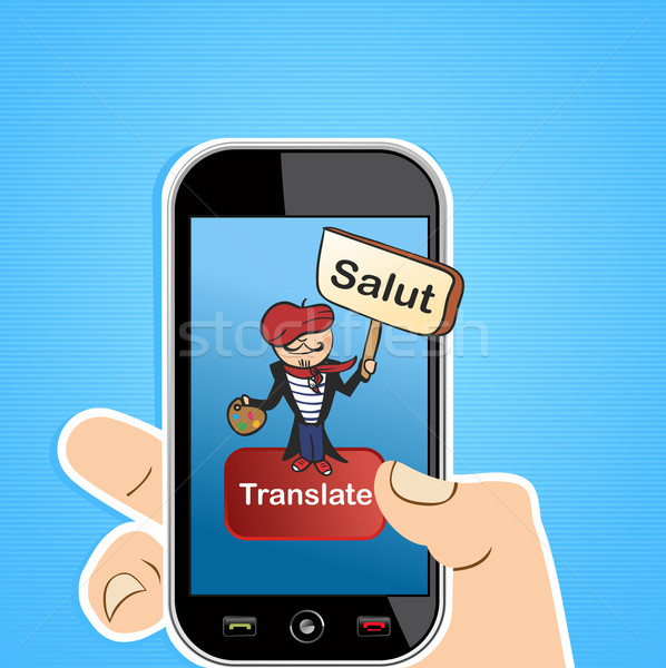 Traduction app main français Photo stock © cienpies