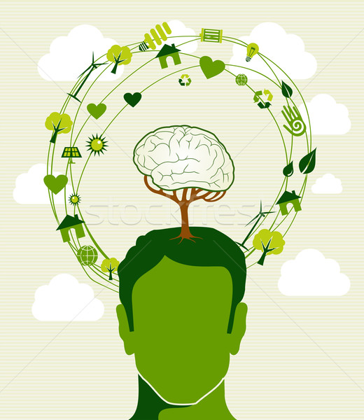 Green ideas tree head concept Stock photo © cienpies