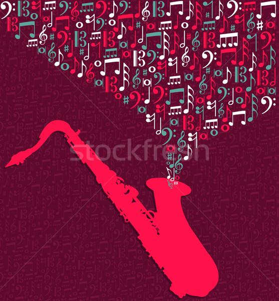 Saxophone music notes splash Stock photo © cienpies
