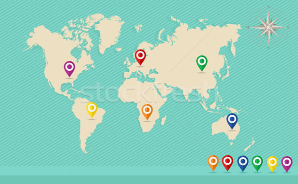 World map, geo position pins, wind rose EPS10 vector file. Stock photo © cienpies
