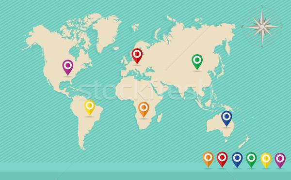 Stockfoto: Wereldkaart · positie · wind · steeg · eps10 · vector