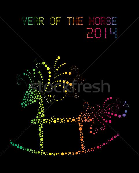 Heureux cheval 2014 carte postale Rainbow Photo stock © cienpies