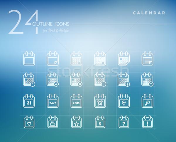 Сток-фото: календаря · линия · веб · мобильных