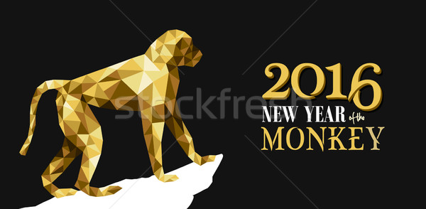 Happy chinese new year monkey gold low poly ape  Stock photo © cienpies