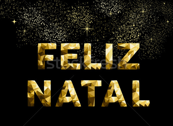 Merry christmas feliz natal brazil gold low poly Stock photo © cienpies