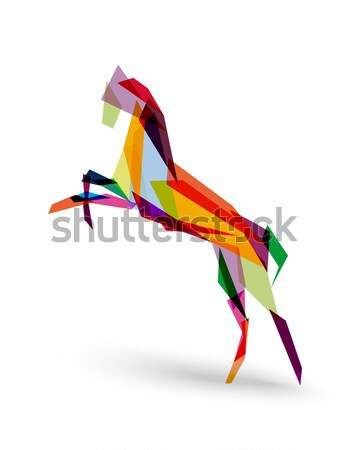Girafe origami illustration une silhouette blanche Photo stock © cienpies