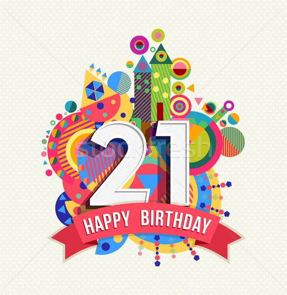 Photo stock: Joyeux · anniversaire · année · carte · de · vœux · affiche · couleur · vingt